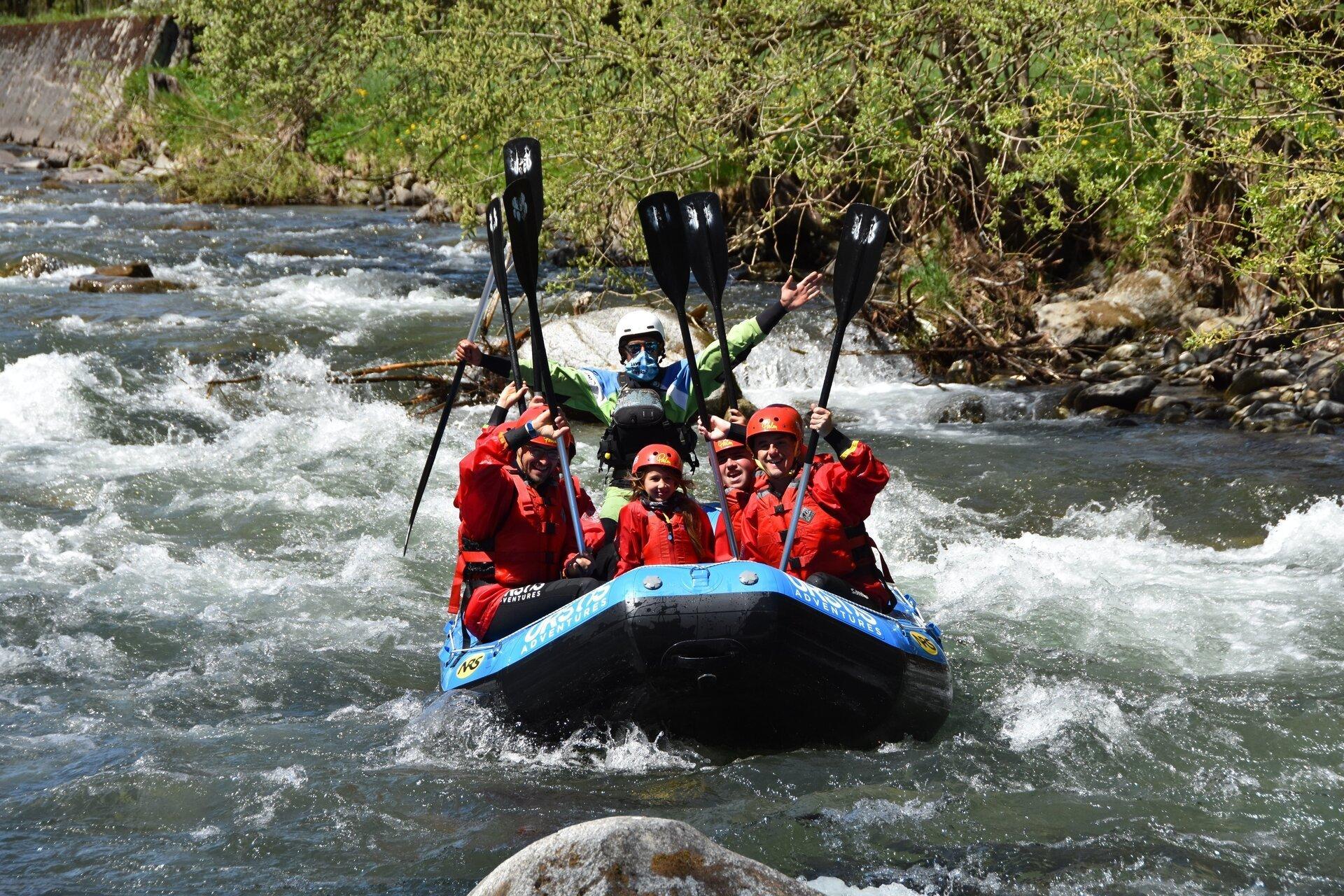 rafting per famiglie sul fiume Noce in Val di Sole con Ursus Adventures